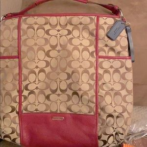 Coach beige and red hobo